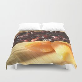 Apricots and cranberries Duvet Cover