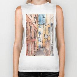 Street in Italy. Watercolor illustration Biker Tank