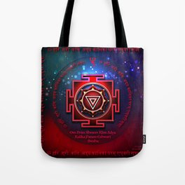 Kali Yantra with the Great Fifteen-Syllable Mantra Tote Bag