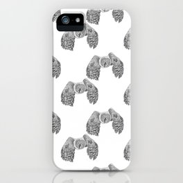 Flying Great Grey Owl pattern iPhone Case