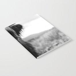 Scottish Highland Cattle Baby - Black and White Animal Photography Notebook