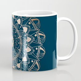 Delicate rose mandala on dark blue Coffee Mug
