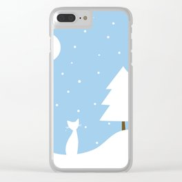 Cat in the snow Clear iPhone Case