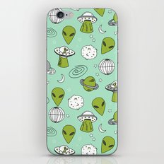 Alien outer space cute aliens french fries rad sodas pattern print mint iPhone & iPod Skin
