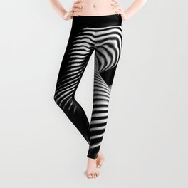 0727s-MM Black and White Striped Fine Art Nude Woman Back Bottom Butt Abstracted Leggings
