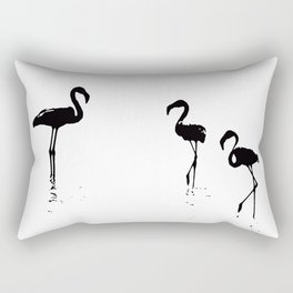 We Are The Three Flamingos Silhouette In Black Rectangular Pillow