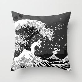 Black and White Psychodelic Kunagawa Surfer Cat Throw Pillow