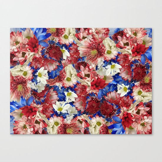 Red White Blue Flora Canvas Print