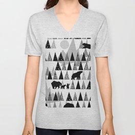 Black and white Forest Unisex V-Neck