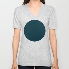 Dark Teal x Solid Color Unisex V-Neck