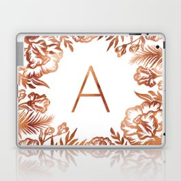 Letter A - Faux Rose Gold Glitter Flowers Laptop & iPad Skin