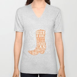 Give a Girl the Right Pair of Boots Graphic Country T-shirt Unisex V-Neck
