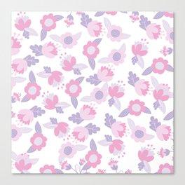 Hand painted pastel pink lavender modern floral Canvas Print