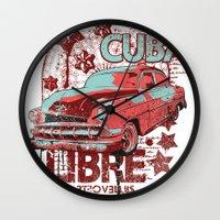 cuba Wall Clocks featuring Cuba Libre by Tshirt-Factory