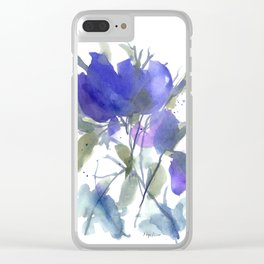 Bluest Blue Bloom Clear iPhone Case