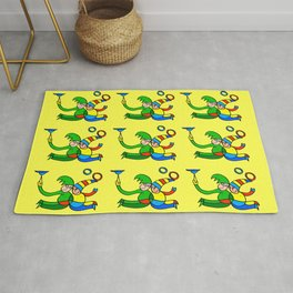"""Multiplied Twin Jugglers In Color for Kids on Yellow Board  """"Paper Drawings/Paintings"""" Rug"""
