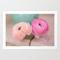 Pink Ranunculus Bouquet mint green Art Print