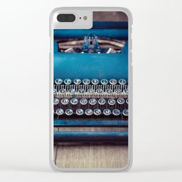 Vintage Blue Typewriter Clear iPhone Case