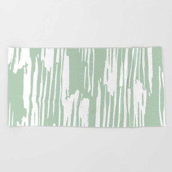 Bamboo Stripe Pastel Cactus Green and White Beach Towel