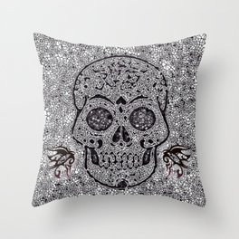 Mosaic Skull Throw Pillow