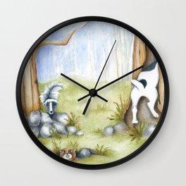Hide and Seek Dog Original art Jack Russell Terrier JRT painting Wall Clock