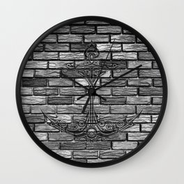 Black Anchor Brickwall Wall Clock