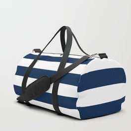 Slate Blue and White Stripes  - Navy Nautical Pattern Duffle Bag
