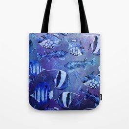 Watercolor fish pattern dark blue Tote Bag
