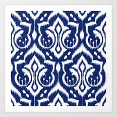 Ikat Damask Navy 2 Art Print