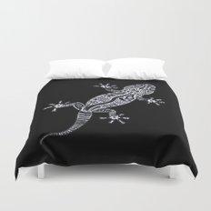 Ornate Lizard (b&w version) Duvet Cover