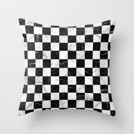 Marble Checkerboard Pattern - Black and White Throw Pillow