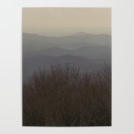 Rolling Mountains Fade Away Into the Clouds Poster
