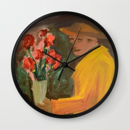 Man with flowers  Wall Clock