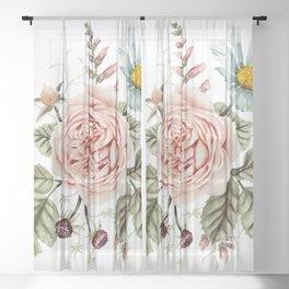 Rose and Foxglove Watercolor Florals Sheer Curtain