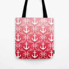 Nautical Knots Ombre Red Tote Bag