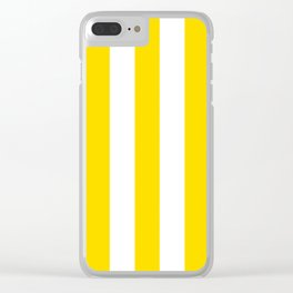 Sizzling Sunrise yellow - solid color - white vertical lines pattern Clear iPhone Case