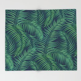 Night tropical palm leaves Throw Blanket
