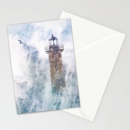 Storm in the lighthouse Stationery Cards