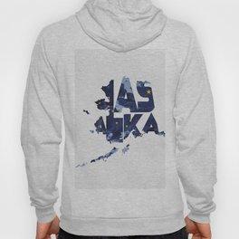 Alaska Typographic Flag Map Hoody
