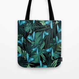 Tropical Butterfly Jungle Night Leaves Pattern #5 #tropical #decor #art #society6 Tote Bag