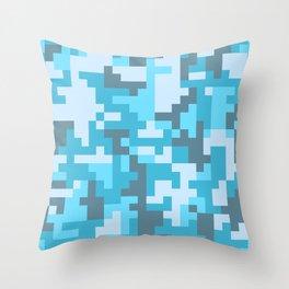 Turquoise Camo pattern Throw Pillow