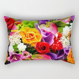 Bouquet of Roses, Carnations, Lilies, Tulip Still Life Painting by Jeanpaul Ferro Rectangular Pillow