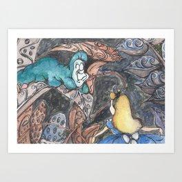 Alice and Caterpillar Art Print