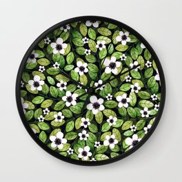 Watercolor Cherry Leaf and Flower Pattern Wall Clock