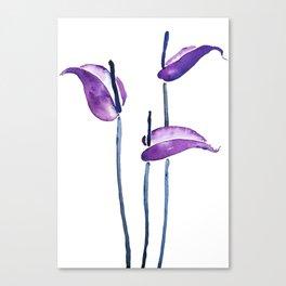 three purple flamingo flowers Canvas Print