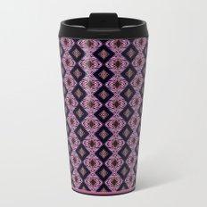 Pink Modern Tribal Diamond and Stripe Tile Metal Travel Mug
