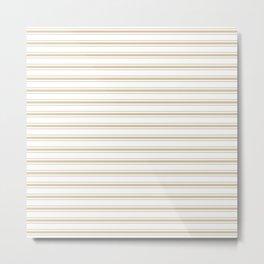 Large Christmas Gold and White Mattress Ticking Stripes Metal Print