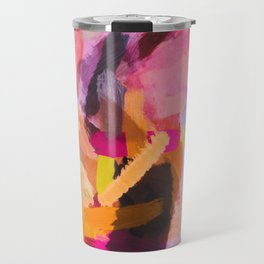 pink purple yellow brown painting texture abstract background Travel Mug