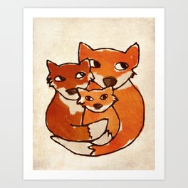 Fox Family Quirky San Jones Illustration Art Print
