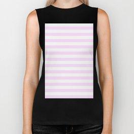 Narrow Horizontal Stripes - White and Pastel Violet Biker Tank
